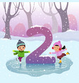 flashcard for learning to counting number 2 vector image vector image