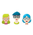 flat hipster girls with glasses icon set vector image