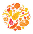 fruit silhouettes in yellow-red shadows vector image