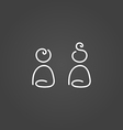 Girl and boy icons draw effect vector image