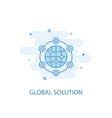 global solution line concept simple line icon vector image