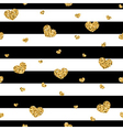 Golden hearts stripes seamless pattern vector image vector image