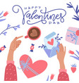happy valentine s day greeting card twofemale vector image
