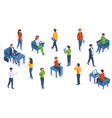 isometric people with gadgets office characters vector image vector image