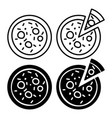 italian whole pizza and slice icons vector image