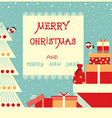 merry christmas background with text and holiday vector image vector image