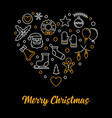 merry christmas heart outline xmas vector image