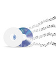 music disc with floating sample random music note vector image