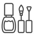 nail polish line icon nails polish brushes vector image
