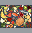 natural products delicious vegetables fruits and vector image
