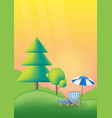 nature summer landscape with green trees lawn vector image vector image