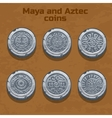 old silver aztec and Maya coins game element vector image vector image