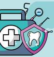 oral hygiene kit protection instrument dental vector image