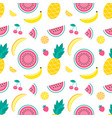 pattern with pineapple lemon melon watermelon vector image