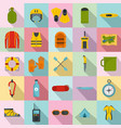 rafting kayak water canoe icons set flat style vector image vector image