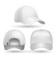 Realistic baseball cap front side back views set vector image