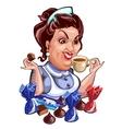 Saleswoman during break drinking tea with sweets vector image vector image