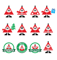 Santa Claus icons Merry Christmas icon labels vector image