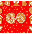 seamless pattern gingerbread alphabet vector image