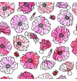 seamless pattern watercolor wild rose pink flower vector image vector image