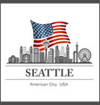 seattle city skyline detailed silhouette on usa vector image vector image