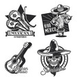 set mexican emblems labels badges logos vector image vector image