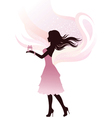 Silhouette of the girl with gift vector image vector image