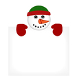 Snowman wearing knitted hat and gloves vector image vector image