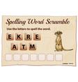 spelling word scramble game with word meerkat vector image vector image