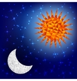 Sun and moon in the sky Polygonal graphics vector image