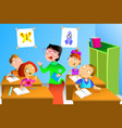 teacher and student in the classroom vector image vector image