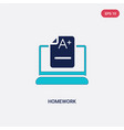 two color homework icon from e-learning and vector image vector image
