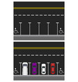 two pictures colored parked cars road top view vector image vector image
