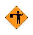 usa traffic road signs a flagger is stationed vector image