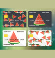 watermelon on frontal side of credit card vector image vector image