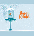 winter banner with bird in cage under branches vector image vector image