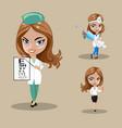 woman doctor or nurse in a set of three vector image vector image