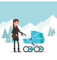 Woman in the winter for a walk with the baby in vector image vector image