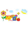 Funny banner for kids and kindergarten with toys vector image