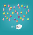 easter poster hanging eggs on blue background vector image