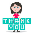 Thank You Title and Girl - Woman Isolated on White vector image