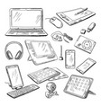 different computer gadgets doodle vector image