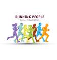 people run sport marathon color silhouette vector image