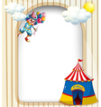 A template with a clown and a circus tent vector | Price: 1 Credit (USD $1)