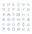 bacare flat line icons vector image vector image