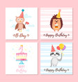 birthday greeting cards set vector image