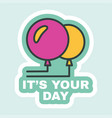 birthday label greeting card party decor flat vector image vector image