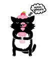 black cat with yogurt cute cartoon animal vector image