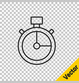 black line stopwatch icon isolated on transparent vector image vector image