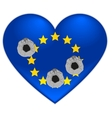 Bullet holes in heart of European Union flag vector image